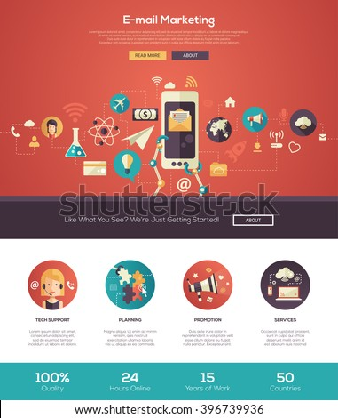 Email Marketing Business Start One Page Stock Vector 396739936 ...