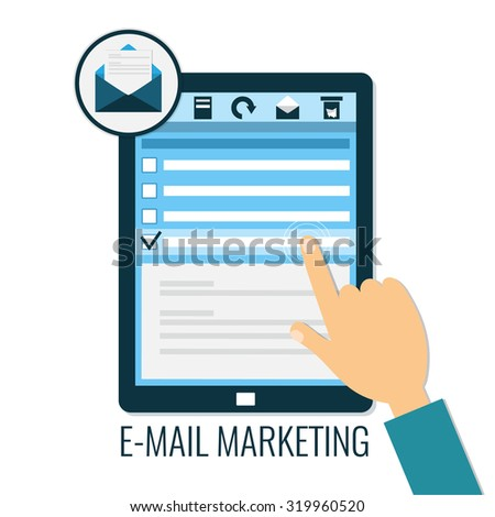 E-mail marketing concept. Computer tablet with hand opening message. Icon for e-mail in flat style, vector illustration. - stock vector
