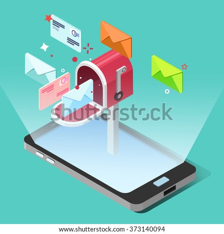 E-mail Marketing Concept in Isometric Style. Smart Phone with Letters. Vector illustration - stock vector