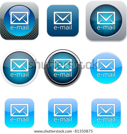 E-mail Set of apps icons. Vector illustration. - stock vector