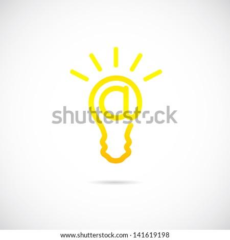 E-mail sign light bulb symbol icon/ logo template - stock vector