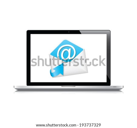 E-mail vector icon concept with laptop isolated on white background