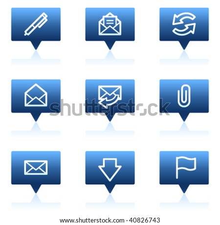 E-mail web icons, blue speech bubbles sticker series - stock vector