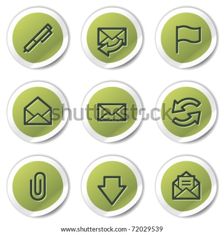 E-mail web icons, green circle stickers
