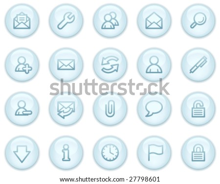 E-mail  web icons, light blue circle buttons series