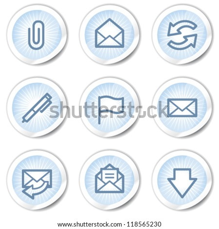 E-mail  web icons, light blue stickers
