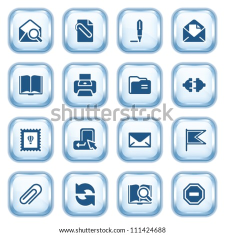 E-mail web icons on glossy buttons. - stock vector