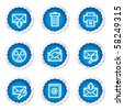 E-mail web icons set 2, blue stickers series - stock vector
