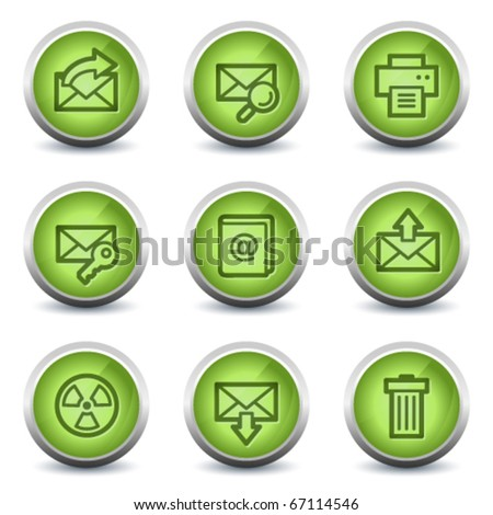 E-mail web icons set 2, green glossy set - stock vector