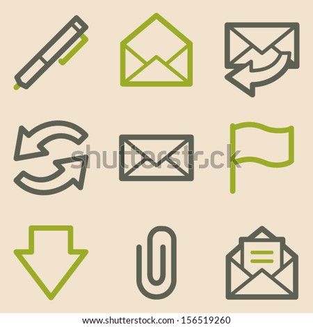 E-mail web icons set 1, vintage series - stock vector