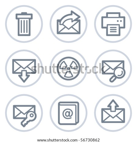 E-mail web icons set 2, white circle series - stock vector