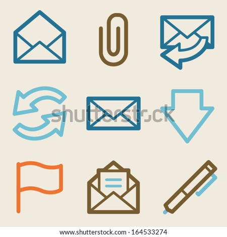 E-mail web icons, vintage series - stock vector