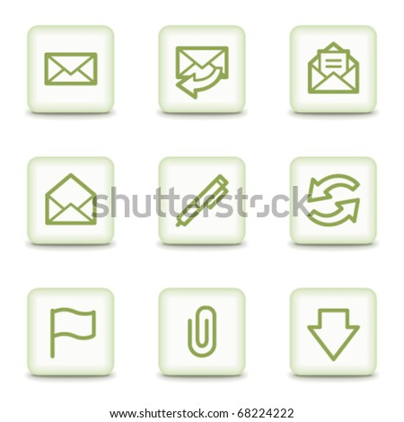 E-mail web icons, white glossy buttons - stock vector