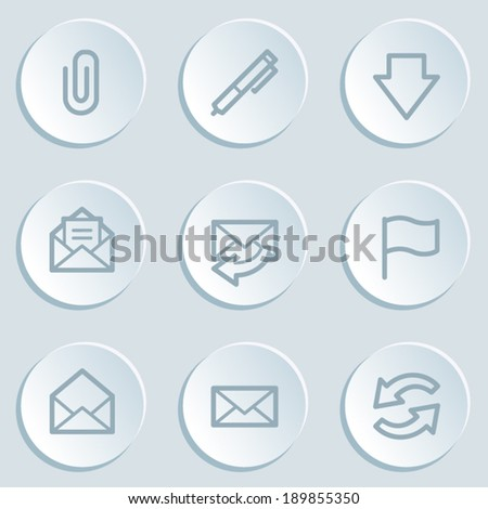 E-mail web icons, white sticker buttons - stock vector