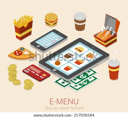 E-menu electronic mobile device menu meal online order flat 3d isometric cafe restaurant bistro fastfood infographic web concept template. Burger sandwich pizza fried potato cola phone tablet website. - stock vector