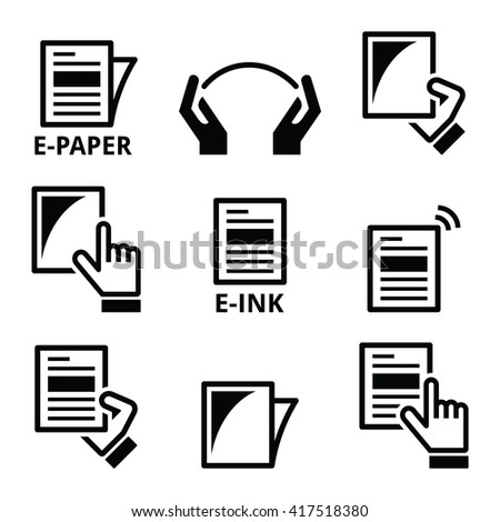 E-paper, e-ink technology display device icons set  - stock vector