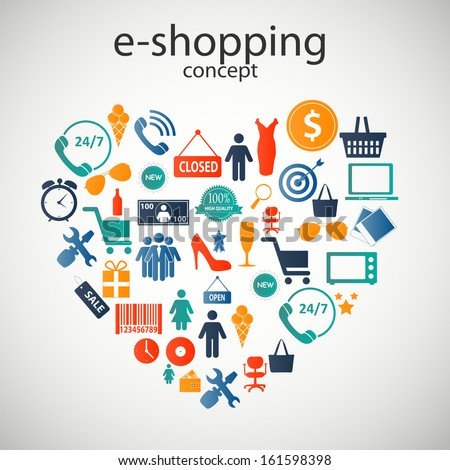 e-shopping concept  icons vector illustration - stock vector