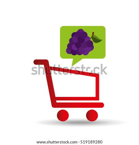e-shopping fresh grape fruit design vector illustration eps 10