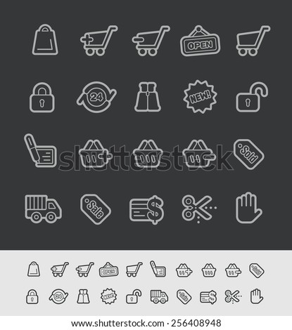 e-Shopping Icons // Black Line Series -- EPS 10+ Contain Transparencies - stock vector