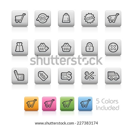 e-Shopping Icons // Outline Buttons +++ Each color in a layer - To see the desired color, you need to make it visible in the layer panel +++ EPS 10+ / Contain Transparencies. - stock vector