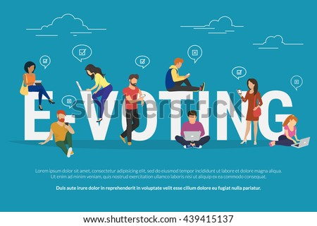E-voting concept illustration of young people using mobile gadgets such as laptop, tablet and smartphone for online voting via electronic internet system. Flat guys and women near letters evoting - stock vector