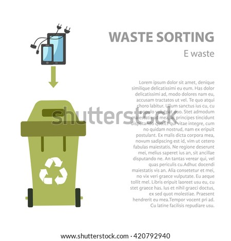 E-waste sorting flat concept.  Vector illustration of e-waste. E- waste recycling categories and garbage disposal.  E-waste types sorting management . - stock vector