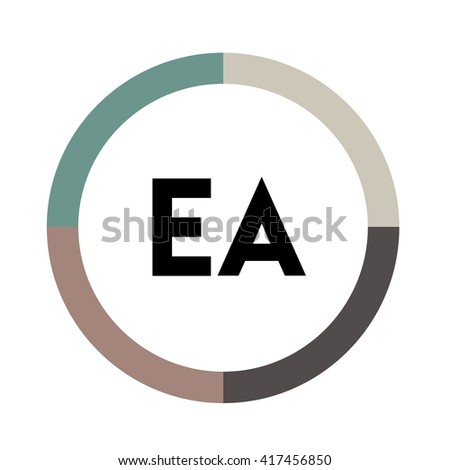 EA Letters Four Colors Abstract Background Stock Vector