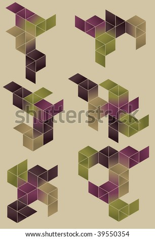 Each set is grouped on separate layer. Outlines are grouped together with main shapes. Simple linear gradients used. - stock vector