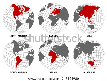 Each world continent over lay on the sphere grid structure on white background (EPS10 art vector separate part by part) - stock vector