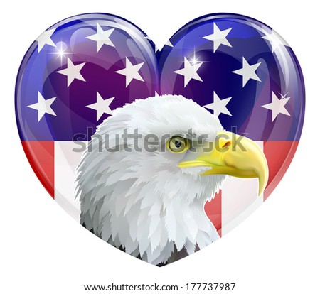 Eagle America love heart concept with and American bald eagle in front of a stars and stripes heart