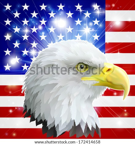 Eagle America love heart concept with and American bald eagle in front of the American flag - stock vector