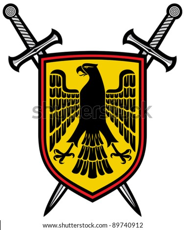 eagle and crossed swords coat of arms (heraldic composition)