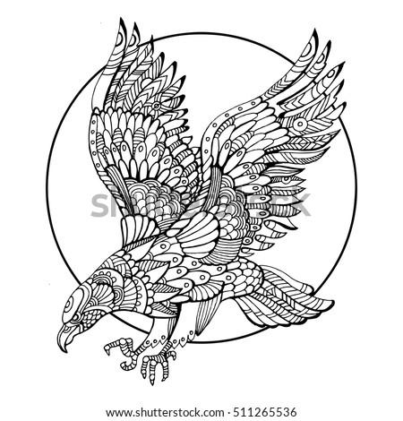 Eagle Bird Coloring Book Adults Vector Stock Vector 511265536 ...