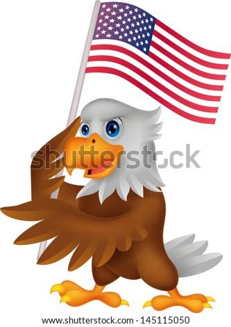 Eagle cartoon holding American flag - stock vector