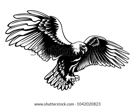 Eagle Emblem Isolated On White Illustration Stock Vector 1042020823
