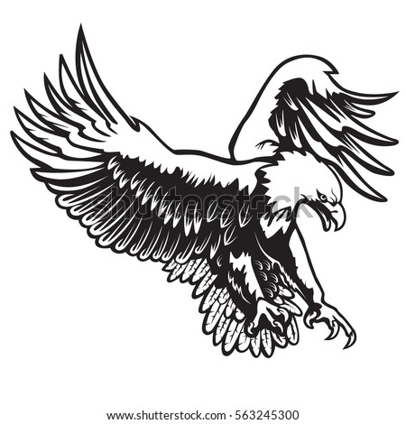 Eagle emblem isolated on white vector illustration american symbol of freedom
