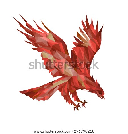 Eagle fiery phoenix made up of polygons triangles bright red brown dark red burgundy - stock vector
