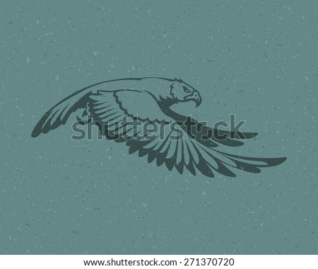 Eagle flying logo emblem template mascot symbol for business or shirt design. Vector Vintage Design Element. - stock vector