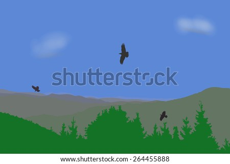 Eagle flying over mountains landscape, vector illustration. Concept of untouched nature and boundless freedom.