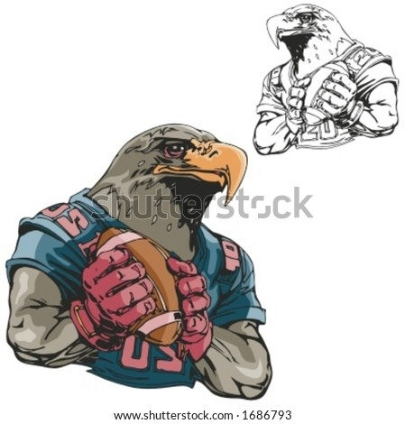 Eagle Football Mascot. Great for t-shirt designs, school mascot logo and any other design work. Ready for vinyl cutting. - stock vector