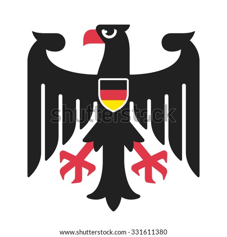 Eagle from national coat of arms of Germany in simple and modern style with German flag on shield. Isolated vector illustration. - stock vector