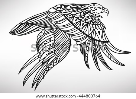eagle. Hand-drawn with ethnic pattern. Coloring page - isolated on a white background. Zendoodle patterns. Vector illustration.