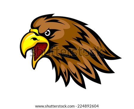 Eagle head in cartoon style for design mascots or emblems. Vector illustration - stock vector