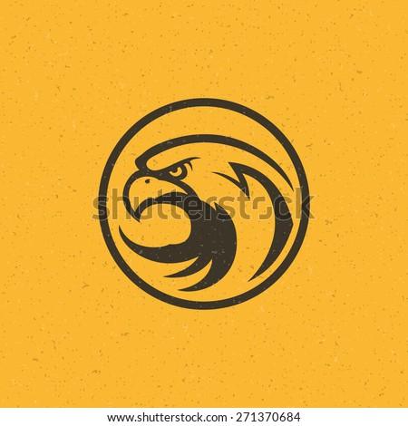 Eagle head logo emblem template mascot symbol for business or shirt design. Vector Vintage Design Element. - stock vector