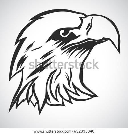 eagle head logo template hawk mascot stock vector 632333840