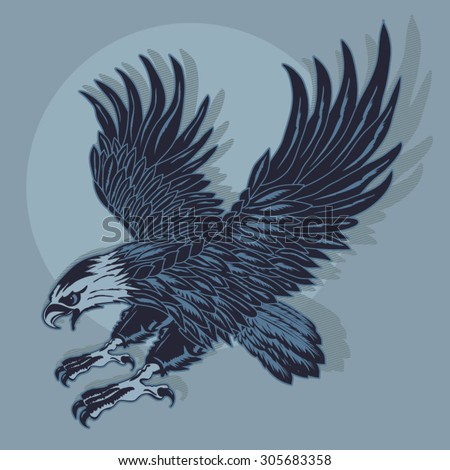 Eagle illustration, t-shirt graphics, vectors, typography  - stock vector