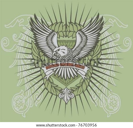 eagle illustration with background for t-shirt