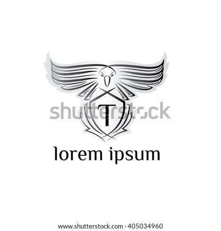 Eagle letter T Logo, bird logo,Phoenix logo,Vector Logo template. Bird of prey logo.  - stock vector