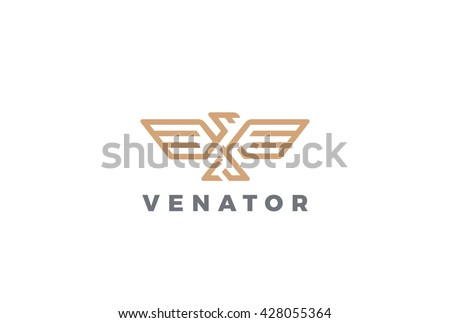 Eagle Logo abstract design vector template Linear style. - stock vector