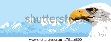 Eagle on a background of blue mountains - stock vector